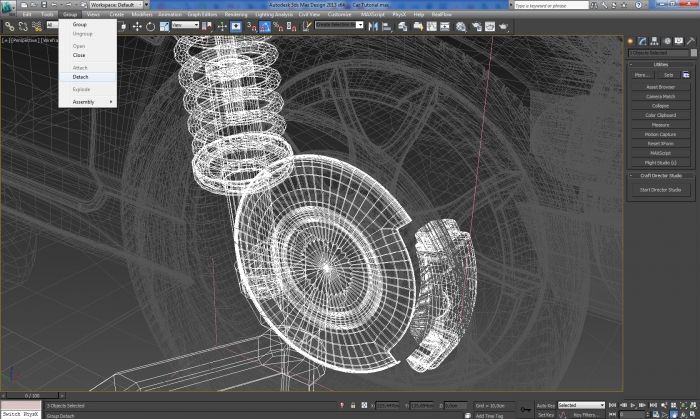 3ds max Group Detach