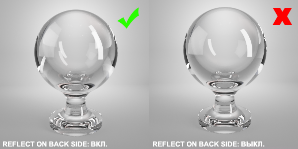 reflect on back side vray